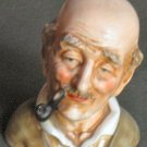 Vintage Arnart Bust Figurine Bald man Smoking Pipe MIJ