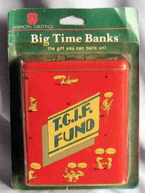 TGIF Red Cartoon Tin Bank American Greetings NIP 1985