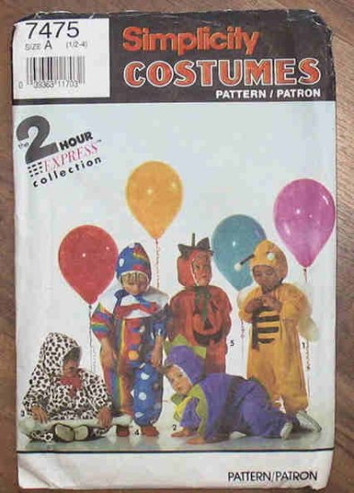Simplicity 2 Hr Pattern 7475 Toddler Costumes Size A 1991 NIP