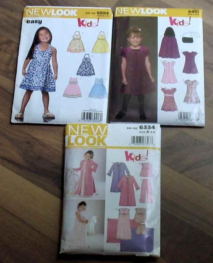 3 Simplicity NewLook Kids! Patterns Dresses PJ's Girls Size A 3-8 NIP
