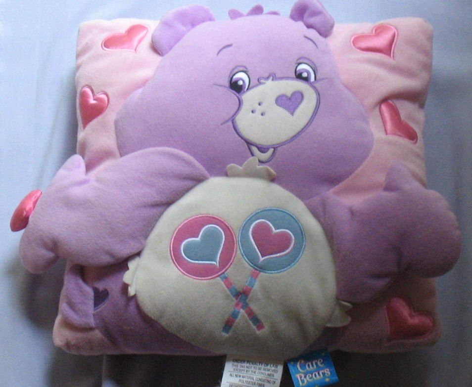 Pink and Purple Share Bear Care Bear 13 Inch Pillow 2004