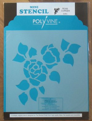 Polyvine The Painted Finish Mylar Mini Stencil ROSE CORNER NIP