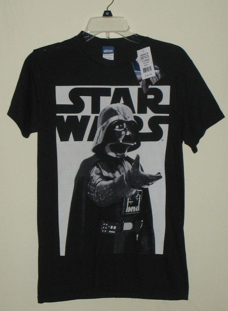 Star wars darth vader black and white t shirt small nwt for Darth vader black and white