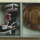Sonoma Happy Trails Cowboy Boot & Hat Salt & Pepper Set NIB