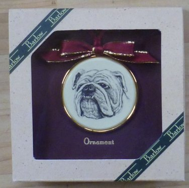 BARLOW Bulldog Bull Dog Framed 2 Inch Ornament NIB