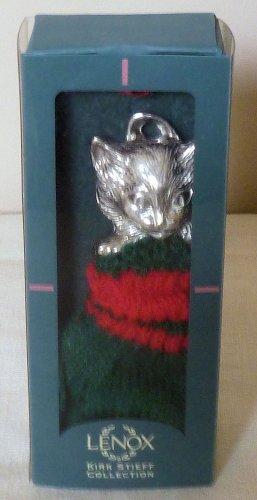 Lenox Kirk Stieff Pewter Ornament Kitten in Mitten NIB