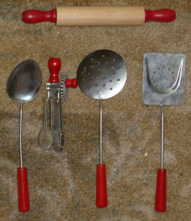 Vintage 5 Piece Toy Child's Wood and Tin Cooking Utensils