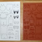 Sheet of 24 Unmounted Craft Stamps Doll Bear Child's Clothing Movable Parts