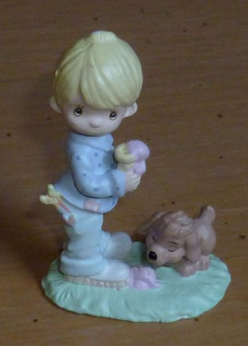 Metal Miniature Precious Moments Boy Eating Ice cream with Puppy Butcher 1989