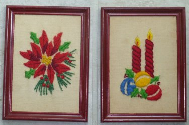 Vintage Handmade Framed Christmas Needlepoint Pictures Candles Poinsetta