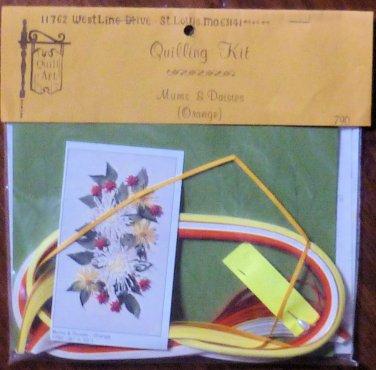 Vintage 1978 Quill Art Quill Kit #790 Spider Mums and Orange Daisies NIP