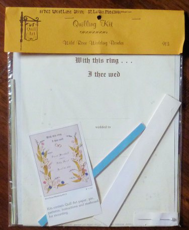 Vintage Quill Art Quill Kit #913 Wedding Announcement Wild Rose Border NIP