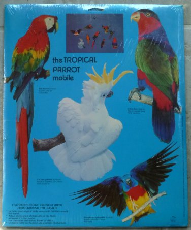 Parrot Mobile Cardboard Kit Nine Colorful Species 1989 Science Academy NIP