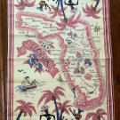 Vintage Cotton Florida Map Tea Towel Gateway to Calypso