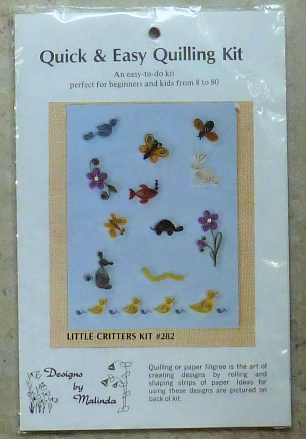 Quill Art Kit Designs by Melissa Little Critters #282  For Beginners or Kids NIP