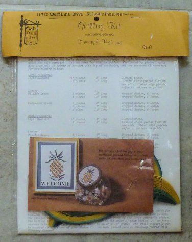 Vintage 1985 Quill Art Quill Kit #960 Pineapple Welcome Two Size NIP