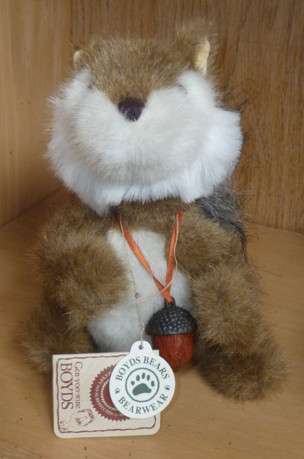 Boyds Bears Collection 7 Inch Merle B. Squirrel with Metal Acorn NWT