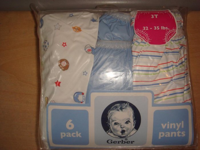 6 Pack 3t Gerber Vinyl Pants For Over Potty Training