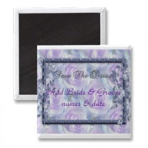 Set of 25 Purple Flowers Save The Date Wedding SQUARE MAGNETS kjsweddingshop