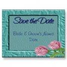 Set of 100 Aqua Floral Save The Date Wedding POSTCARDS kjsweddingshop