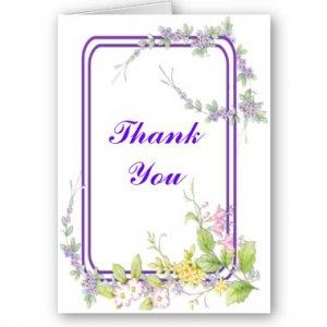 Set of 8 WILD FLOWERS Wedding THANK YOU CARDS Envelopes Included kjsweddingshop