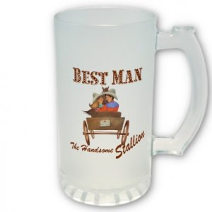 Bestman Gift Western Theme Frosted Beer Mug Stein Glass 16 oz. kjsweddingshop
