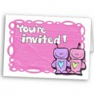 Set of 50 Cartoon Love Robots BRIDAL SHOWER INVITATIONS Envelopes Included kjsweddingshop