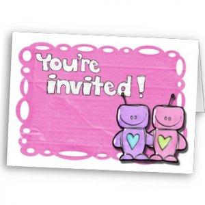 Set of 50 Cartoon Love Robots BRIDAL SHOWER INVITATIONS Envelopes Included kjsweddingshop