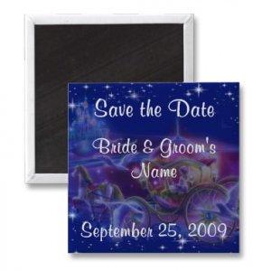 Set of 100 PRINCESS Save The Date Wedding SQUARE MAGNETS kjsweddingshop