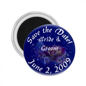 Set of 100 PRINCESS Save The Date Wedding ROUND MAGNETS 2.25 INCH kjsweddingshop