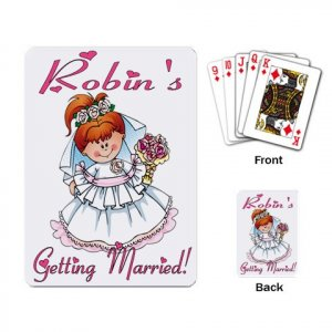 Bridal Shower favors Deck of Custom Playing Cards, Redhead Bride kjsweddingshop