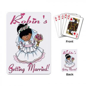 African American or Latina Bridal Shower favors Deck of Custom Playing Cards kjsweddingshop