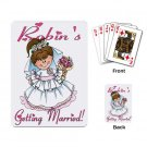 Brunette Hair Bridal Shower favors Deck of Custom Playing Cards kjsweddingshop