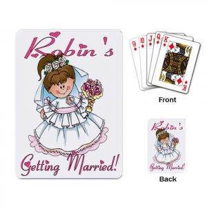 Brunette Hair Bridal Shower favors Deck of Custom Playing Cards kjsweddingshop