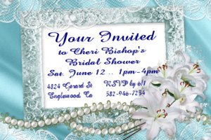 Blue Pearls Personalized Bridal Shower Party Invitations 4x6 inch Postcards Pack of 10 kjswed