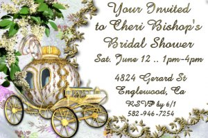 Princess Carriage Personalized Bridal Shower Party Invitations 4x6 in. Postcards Pack of 10 KJWed