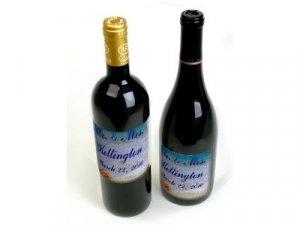 18 Wedding Wine Bottle labels BEACH THEME Reception Party Favors High Gloss Labels kjsweddingshop