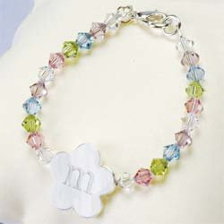 Little Girl's Flower Charm Bracelet  B9157SC