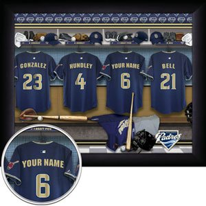 San Diego Padres Framed Custom Jersey Print With Your Name