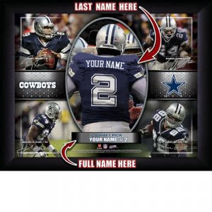Custom Dallas Cowboys Action Print Framed and Personalized