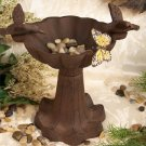 Antiqued Cast Iron Victorian Style Bird Bath