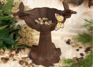 Antiqued Cast Iron Victorian Style Bird Bath