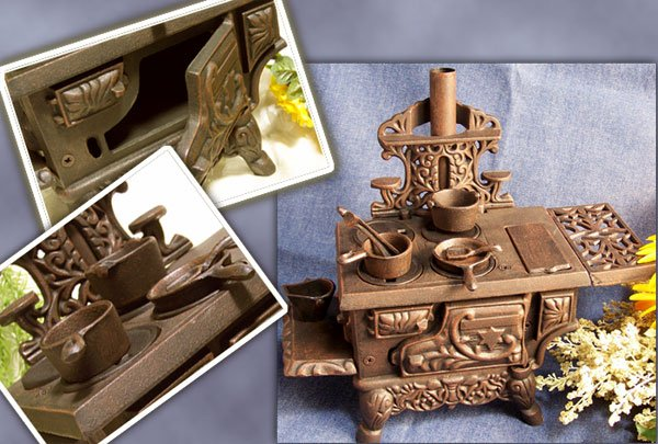 """Cast Iron """"Cresent"""" Toy Stove Reproduction"""