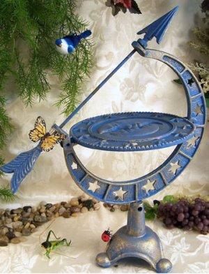 Cast Iron Arrow With Sun, Moon, and Stars Sundial