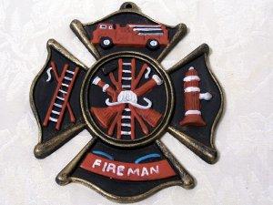 Cast Iron Fireman Wall Plaque