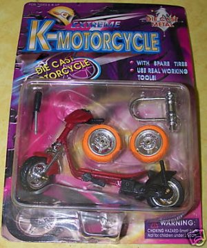 Finger Scooter Motorcycle Burgandy w/Extra Wheels NEW