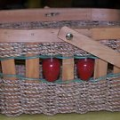 "Woven Wood Basket with Apples 6 3/4"" x 9 1/2"" x 5 1/2"""