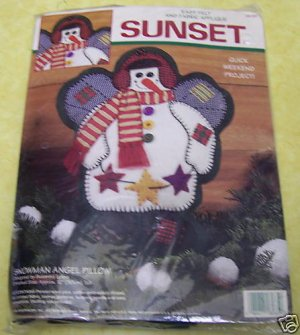 Dimensions Snowman Angel Pillow Felt Kit Christmas-NIP
