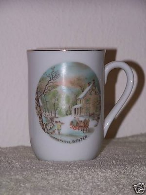 Currier & Ives Coffee Cup Winter Scene