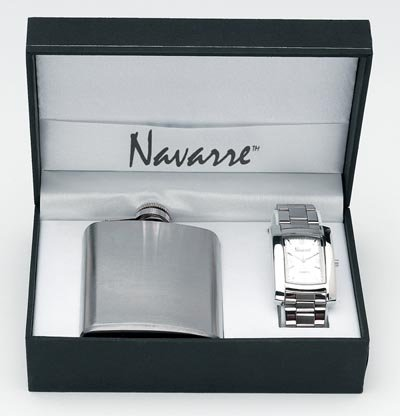 Navarre Mens Watch and Flask Gift Set